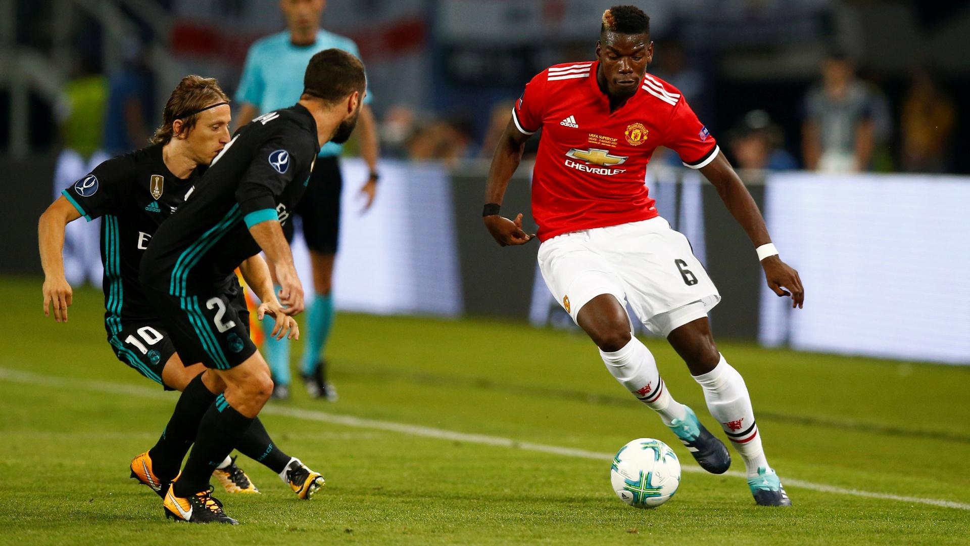 Pogba em ação pelo Manchester United contra o Real, pela Supercopa da Europa
