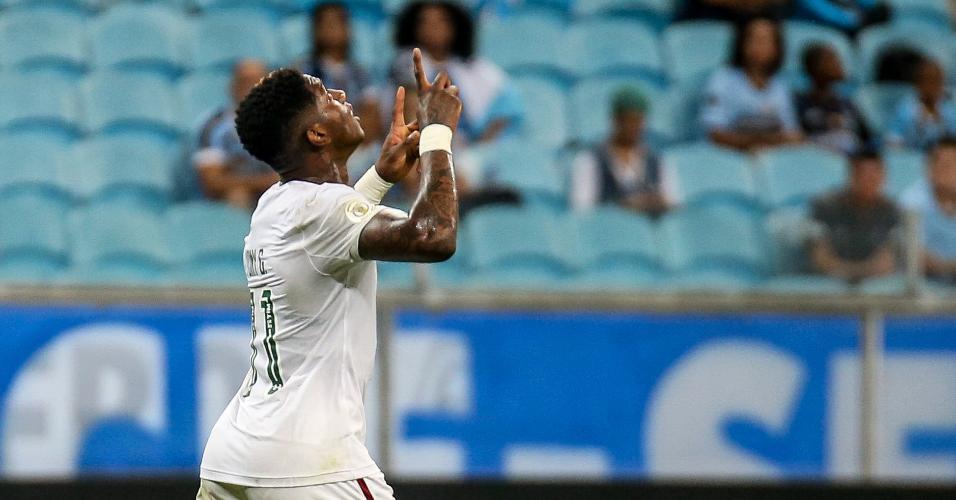 Yony González comemora gol do Fluminense contra o Grêmio