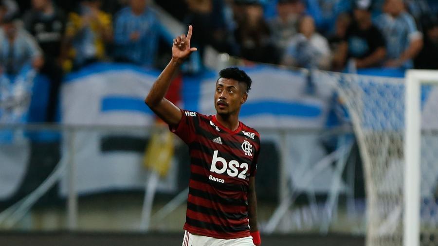 Bruno Henrique comemora gol do Flamengo. Atacante decisivo em 2019 - Jeferson Guareze/AGIF