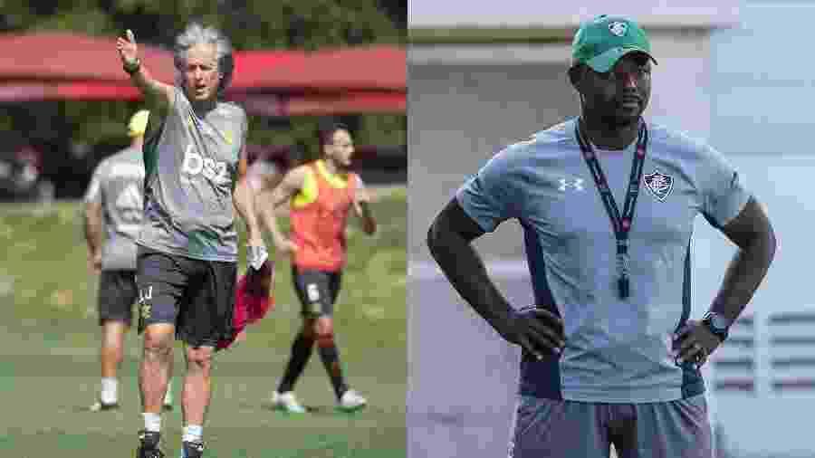 Jorge Jesus, técnico do Flamengo, e Marcão, técnico do Fluminense - Colagem de fotos de Alexandre Vidal / Flamengo e Lucas Merçon / Fluminense