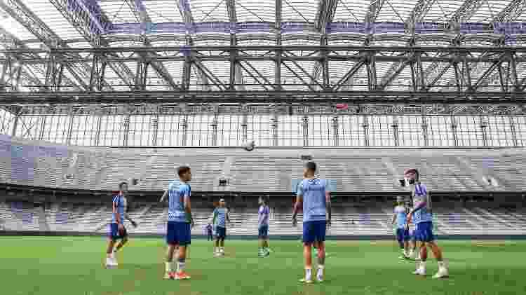 Grêmio fez último treino antes do jogo com o Athletico no gramado sintético da Arena da Baixada - Lucas Uebel/Grêmio FBPA