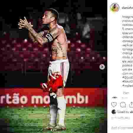 Daniel Alves faz post no Instagram e reafirma amor ao São Paulo  - Reprodução