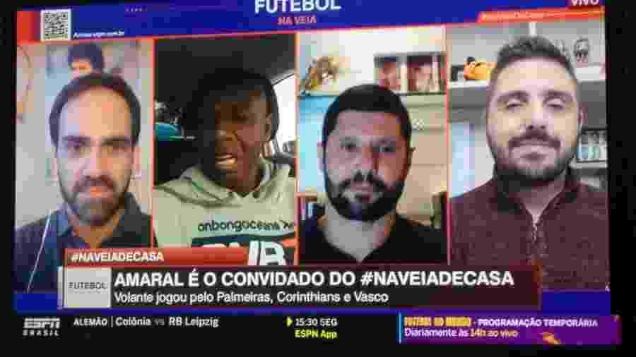 Amaral participa do Futebol na Veia dentro do carro - Reprodução/ESPN Brasil