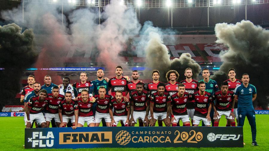 Equipe do Flamengo antes da decisão do Campeonato Carioca 2020 - Marcelo Cortes/Flamengo