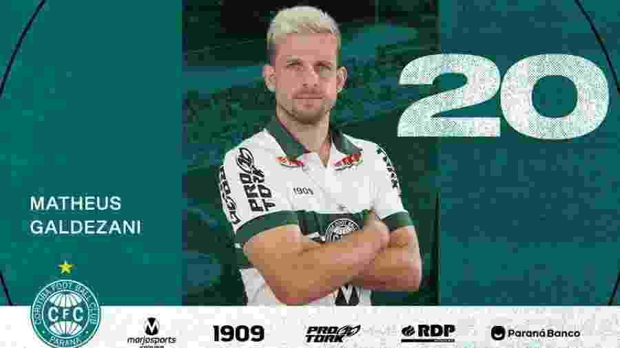 Matheus Galdezani, meio-campista do Coritiba, passou pelo Inter sem estrear - Divulgação/Site oficial do Coritiba