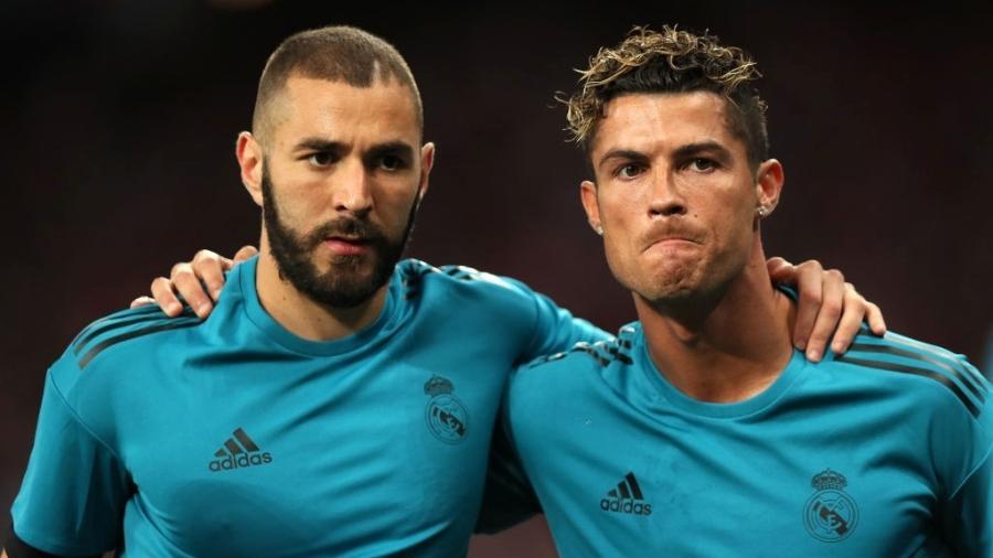 Karim Benzema e Cristiano Ronaldo em jogo pelo Real Madrid em maio de 2018 - Matthew Ashton - AMA/Getty Images