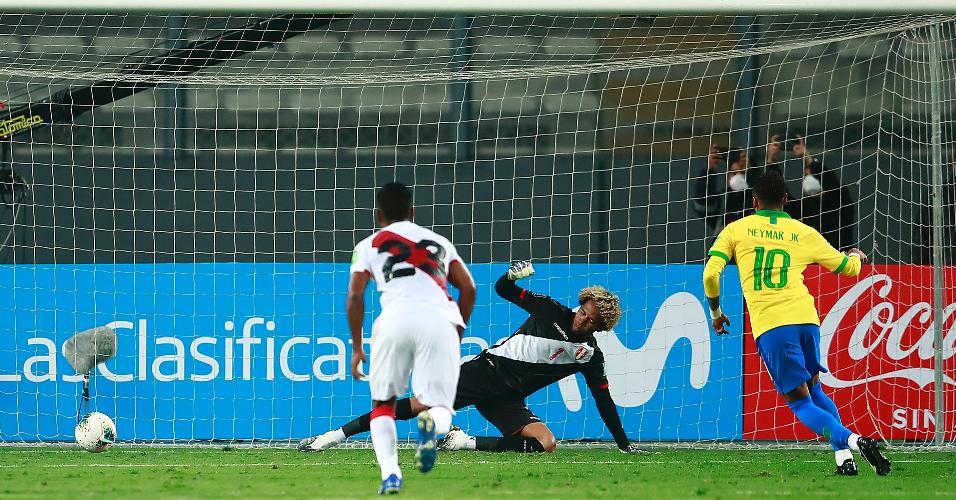 Neymar desloca Gallese e faz o terceiro do Brasil contra o Peru