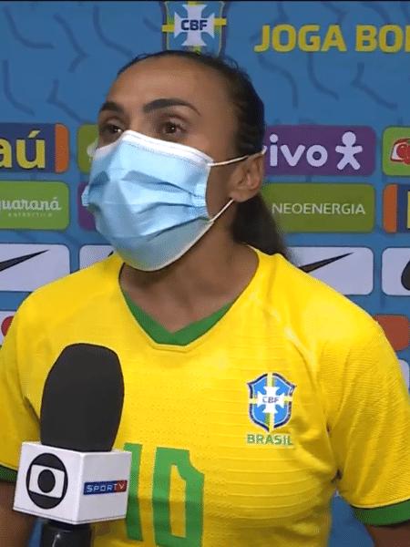 Marta falou sobre manifesto contra assédio divulgado pelas jogadoras da seleção brasileira - Reprodução/TV Globo