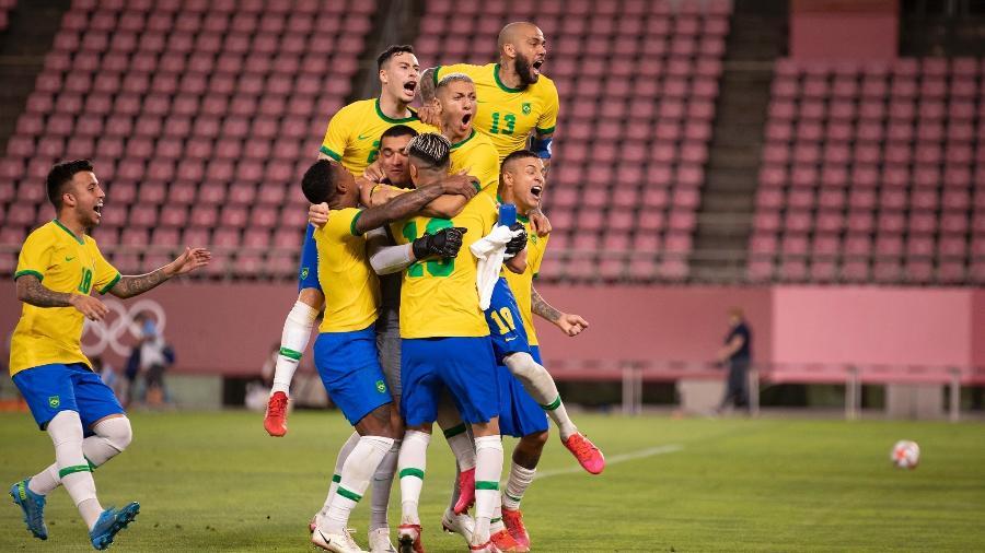Jogadores da seleção brasileira comemoram classificação para a final das Olimpíadas de Tóquio - Lucas Figueiredo/CBF