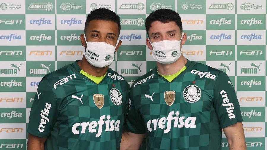 Jorge e Piquerez foram apresentados no Palmeiras nesta quarta-feira - Cesar Greco