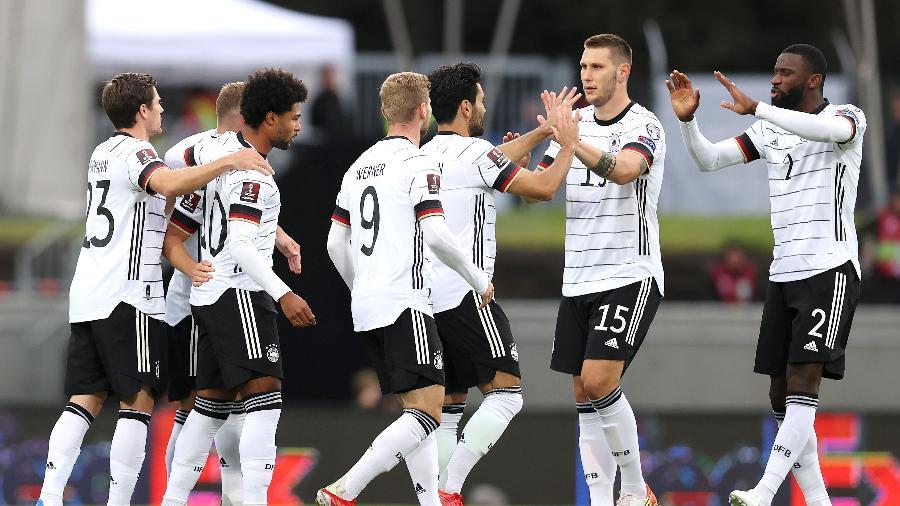 Alemanha comemora gol contra a Islândia, pelas Eliminatórias da Copa do Mundo de 2022 - Getty Images