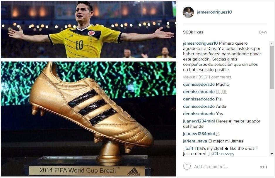 James Rodriguez posta foto com a chuteira de ouro