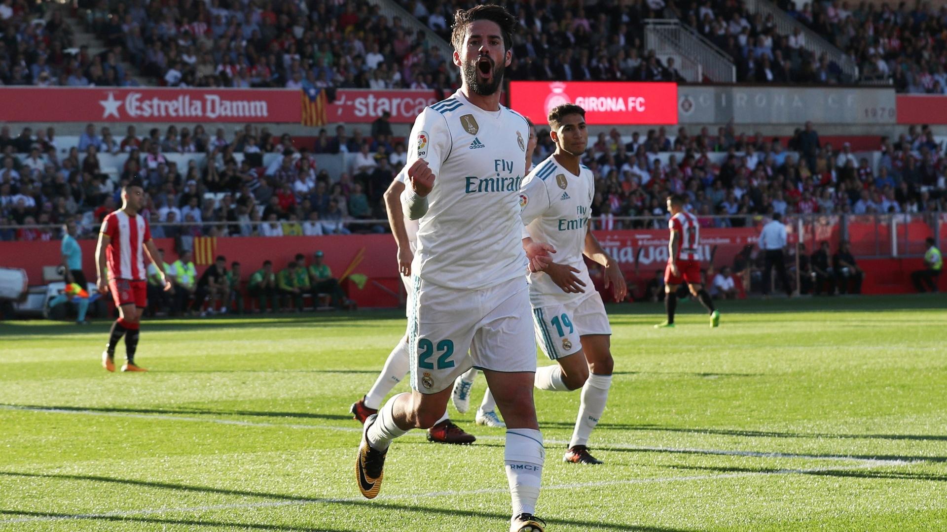 Isco comemora gol para o Real Madrid contra o Girona