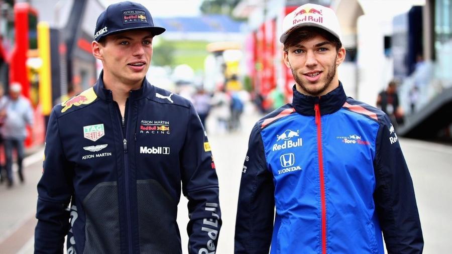 Pierre Gasly (à direita) correrá com Max Verstappen (à esquerda) na Red Bull em 2019 - @PierreGASLY/Twitter