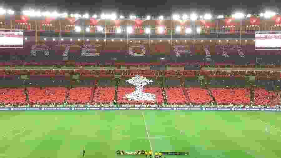 Torcida do Flamengo fez um mosaico na entrada do time em campo, contra o Grêmio, pela Libertadores - Leo Burlá / UOL