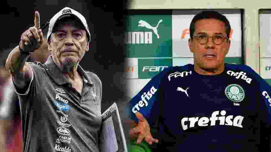 Jesualdo Ferreira, do Santos, e Vanderlei Luxemburgo, do Palmeiras, se enfrentam em clássico - Ivan Storti/Santos FC e Bruno Ulivieri/AGIF