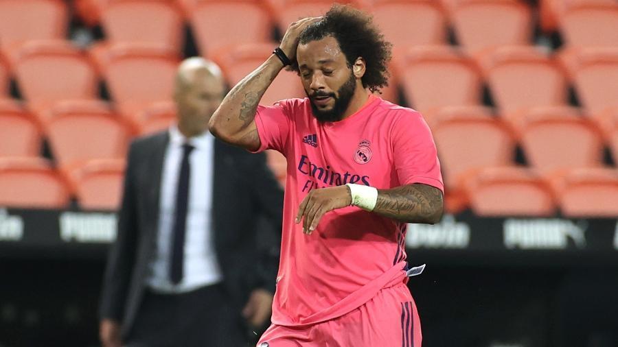Marcelo tem sido tratado como principal vilão do Real Madrid na temporada - Angel Martinez/Getty Images
