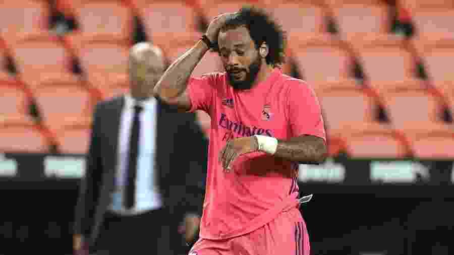 Lateral brasileiro Marcelo foi utilizado como titular pelo técnico Zinedine Zidane no último duelo do Real Madrid - Angel Martinez/Getty Images