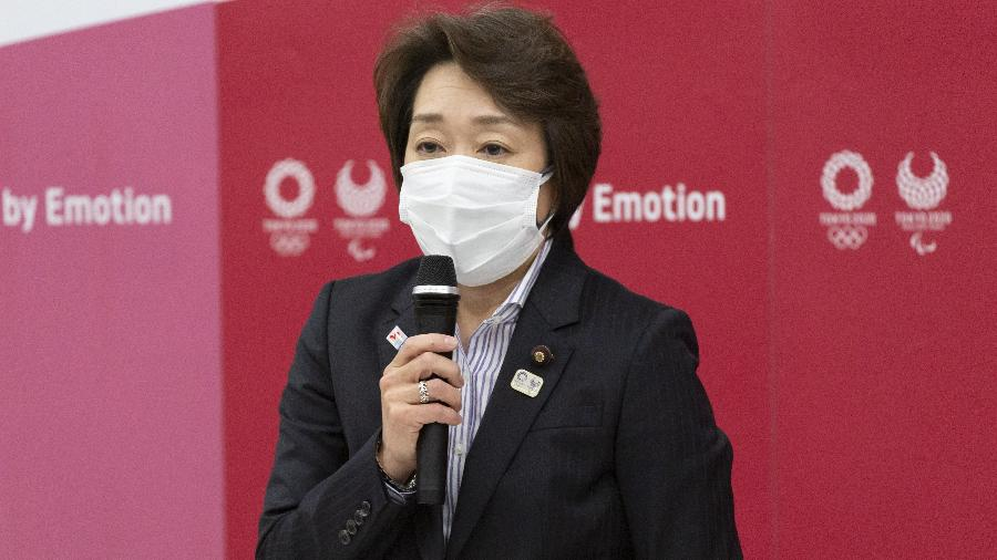 Seiko Hashimoto, presidente do Comitê Organizador dos Jogos Olímpicos de Tóquio, revelou que medida tem ligação com covid-19 - Yamazaki Yuichi/Pool via Xinhua