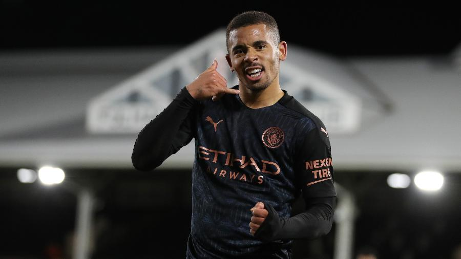Gabriel Jesus comemora gol do Manchester City contra o Fulham - REUTERS/Catherine Ivill
