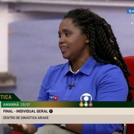 Daiane dos Santos discursou e se emocionou com a medalha de prata de Rebeca Andrade - Reprodução/SporTV