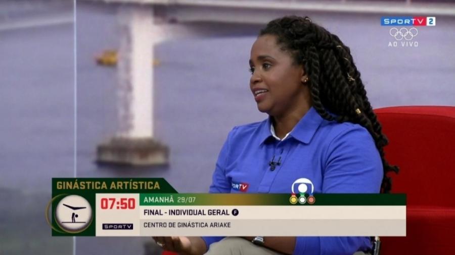 Daiane dos Santos se emociona ao falar sobre Rebeca Andrade - Reprodução/SporTV