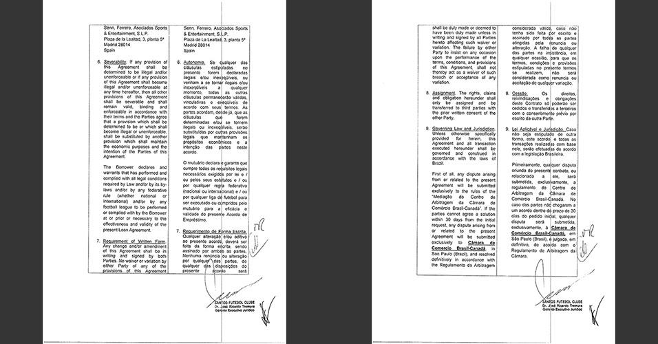Detalhes do contrato entre Doyen e Santos