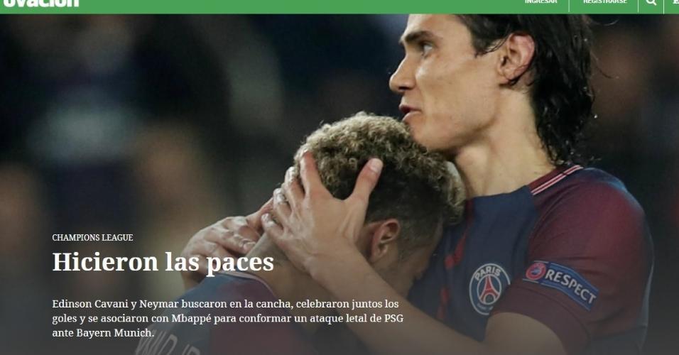 Notícia do site do El País, do Uruguai, sobre a relação Cavani/Neymar