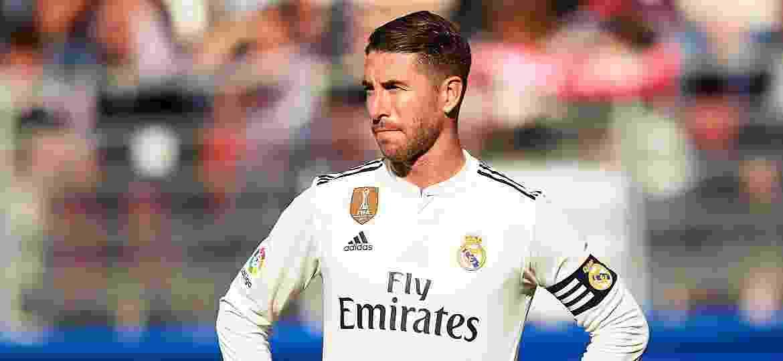 Sergio Ramos durante a derrota do Real Madrid para o Eibar, por 3 a 0 - Juan Manuel Serrano Arce/Getty Images