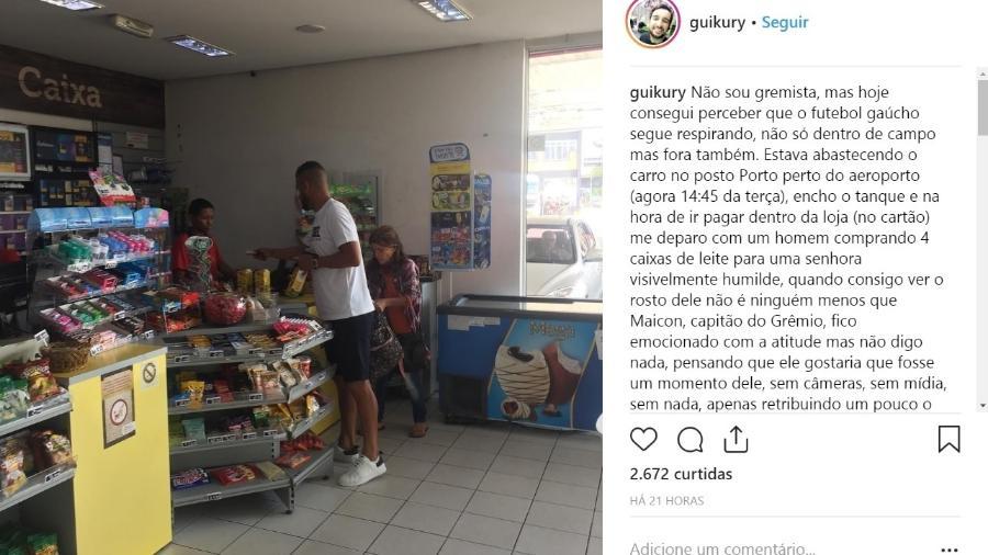 Maicon, capitão do Grêmio, compra leite para uma senhora em loja de conveniência - Reprodução Instagram