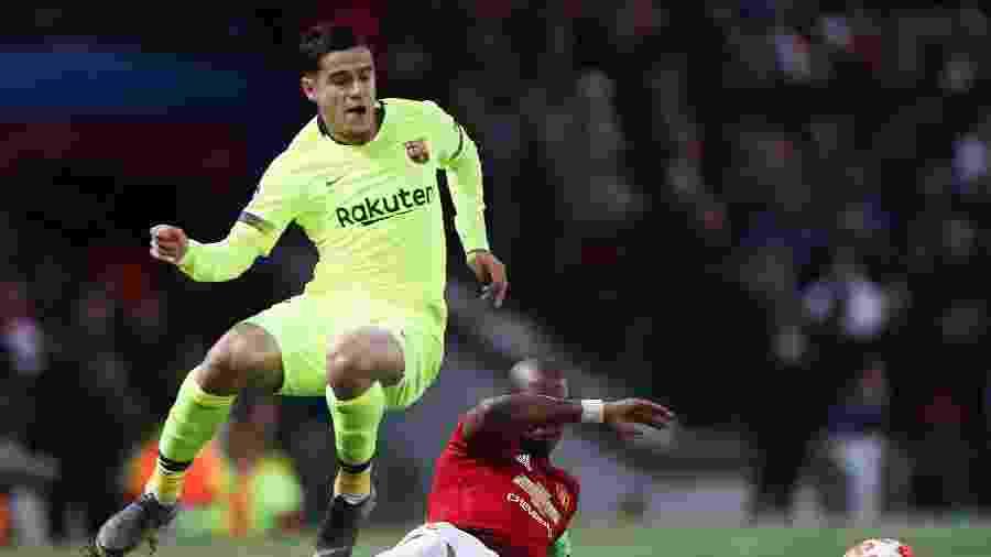 Coutinho, durante partida entre Barcelona e Manchester United - Action Images via Reuters/Lee Smith