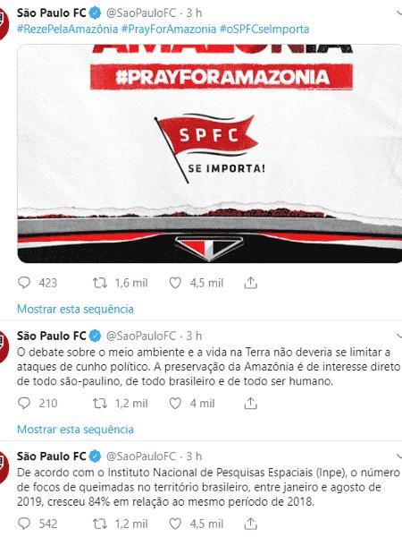 São Paulo usou o Twitter para falar das queimadas na Amazônia - Reprodução/Twitter