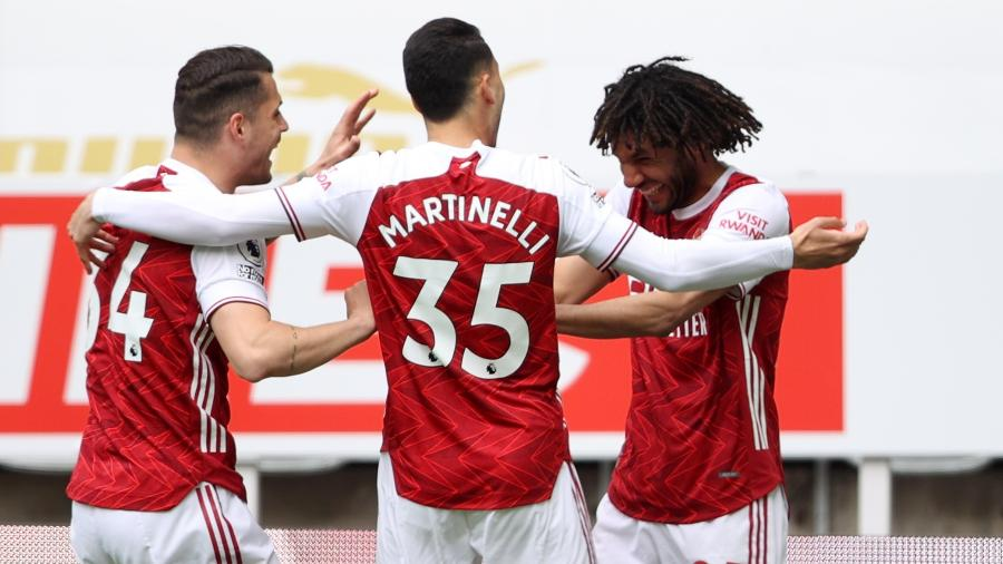 Jogadores do Arsenal comemoram gol marcado sobre o Newcastle, pelo Campeonato Inglês - Molly Darlington/Reuters