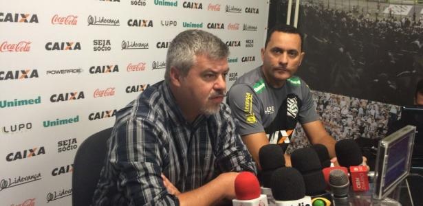 Segundo Cléber Giglio (esq), Hudson Coutinho (dir) fica até contratação de novo técnico - Figueirense FC/Divulgação