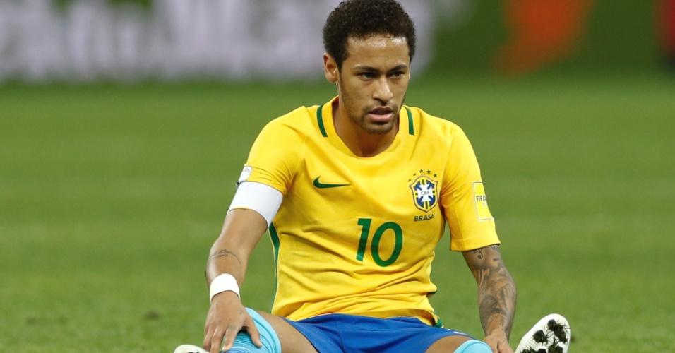 Neymar do Brasil durante partida contra o Paraguai pelas eliminatórias da Copa do Mundo