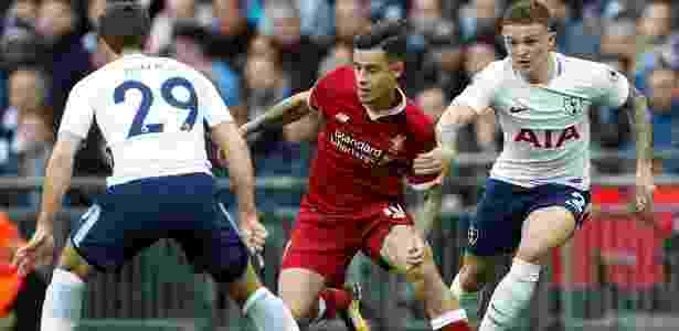 Philippe Coutinho durante partida do Liverpool contra o Tottenham - Action Images via Reuters
