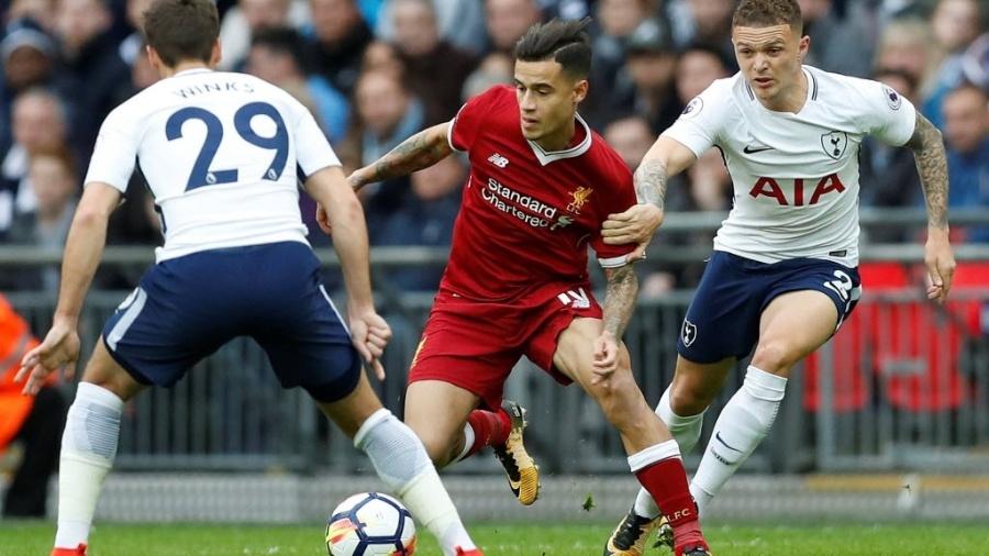 Philippe Coutinho durante partida do Liverpool contra o Tottenham - Action Images via Reuters