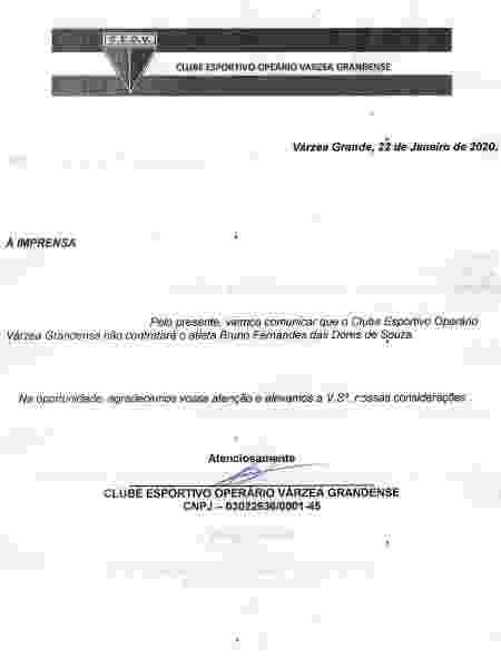 Comunicado do Operário-MT sobre o recuo na contratação do goleiro Bruno - Divulgação - Divulgação