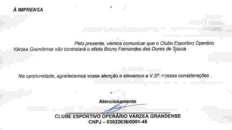 Comunicado do Operário-MT sobre o recuo na contratação do goleiro Bruno - Divulgação