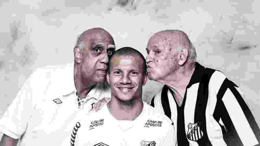 Mengálvio e Pepe, ídolos históricos do Santos, em ensaio com o uruguaio Carlos Sánchez, do elenco atual do Peixe - Divulgação/Conmebol