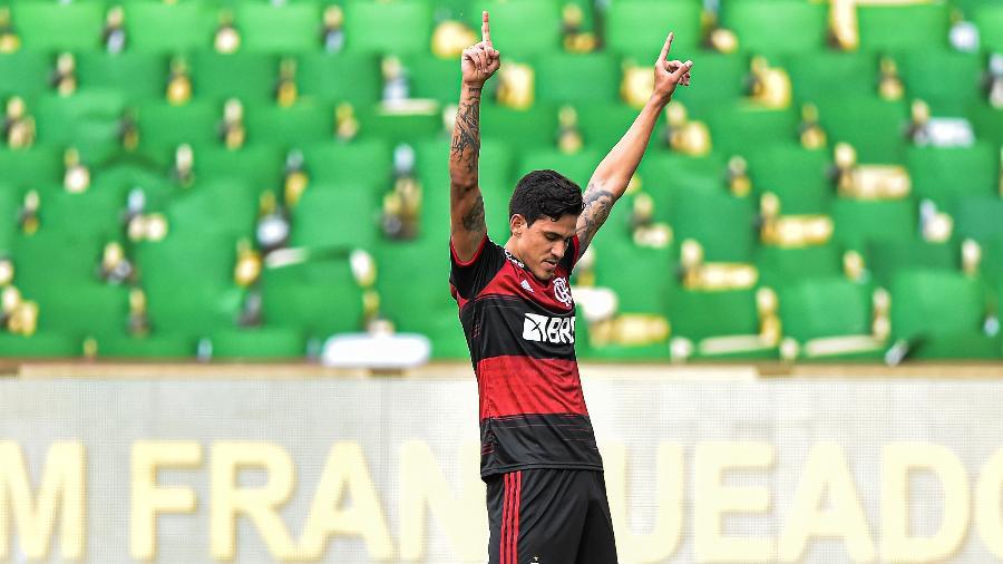 Pedro abre o placar para o Flamengo na ida da decisão do Carioca contra o Fluminense. Jogador deve ser titular hoje - Thiago Ribeiro/AGIF