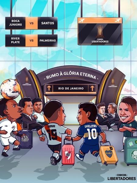 Arte da Conmebol antes das semifinais da Libertadores causou polêmica - Reprodução/Twitter