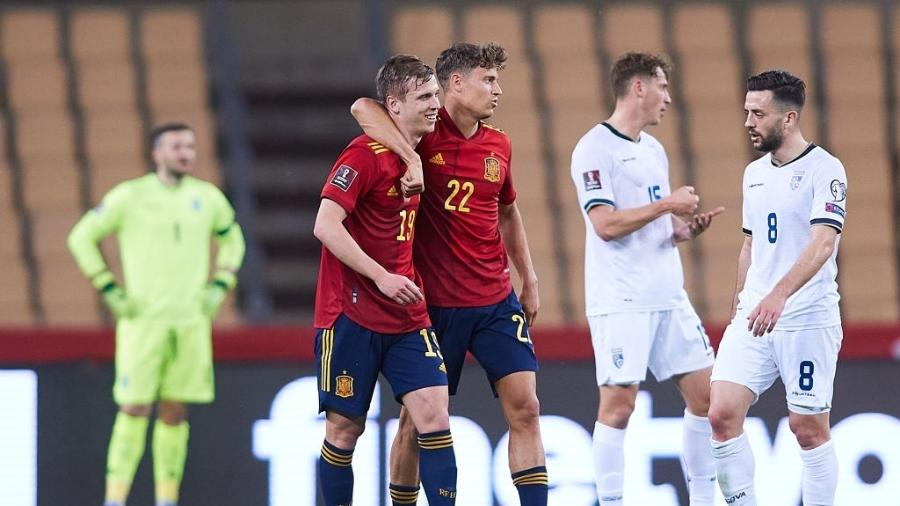 Espanha comemora vitória contra Kosovo, pelas Eliminatórias Europeias da Copa do Mundo de 2022 - Fran Santiago/Getty Images
