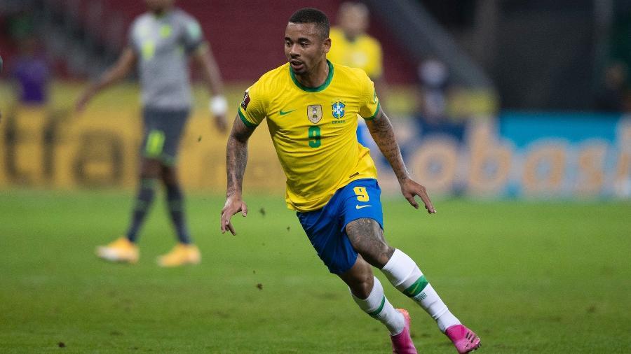 Gabriel Jesus durante jogo da seleção brasileira pelas eliminatórias - Lucas Figueiredo/CBF