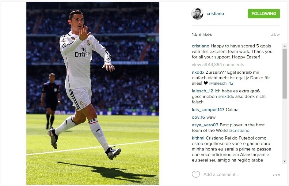 Cristiano Ronaldo comemora cinco gols na mesma partida