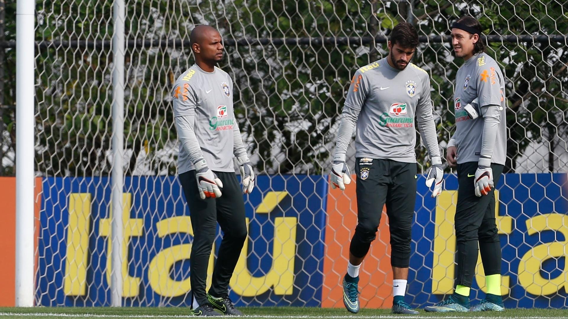 Goleiros treinam no CT do Corinthians com a seleção brasileira