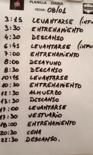 Planilha detalhe os horários inusitados de treino do Deportivo Riestra (ARG)