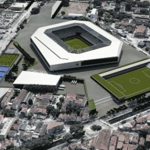 Vista aérea da Arena Santos, que está no papel - Divulgação / Conexão 3