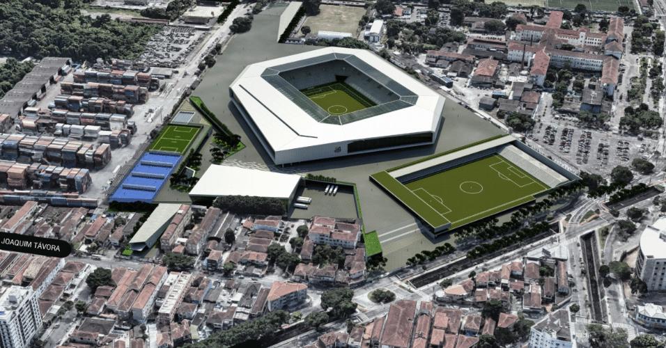 Vista aérea da Arena Santos, que está no papel