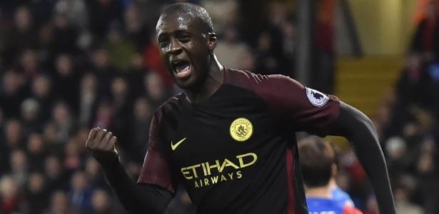 Yaya Touré comemora gol marcado pelo City na temporada passada